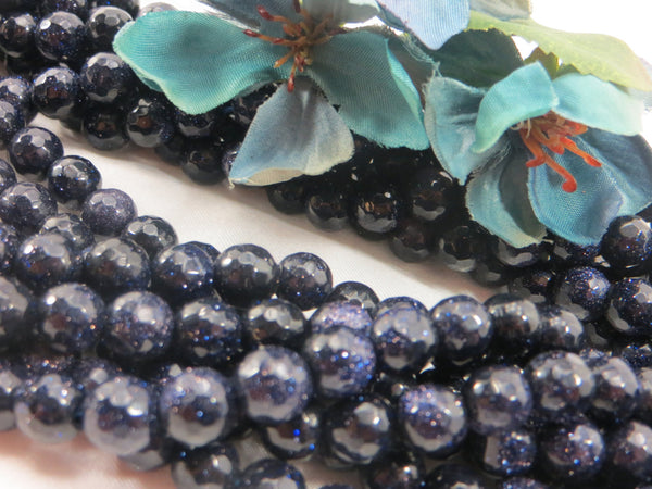 Blue Goldstone 8mm Faceted Round Beads (20)-Jewelry Beads-Odyssey Cache