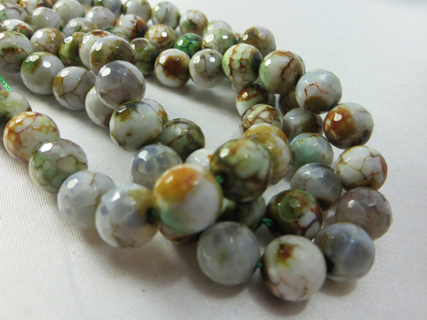 Agate Green, Gold, White Faceted 10mm Round Semiprecious Stone Jewelry Beads (8)-Jewelry Beads-Odyssey Cache