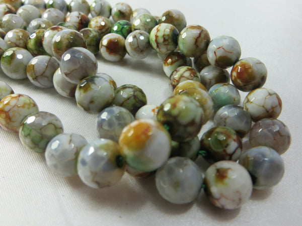 Agate Green, Gold, White Faceted 10mm Round Beads (10) - Odyssey Cache