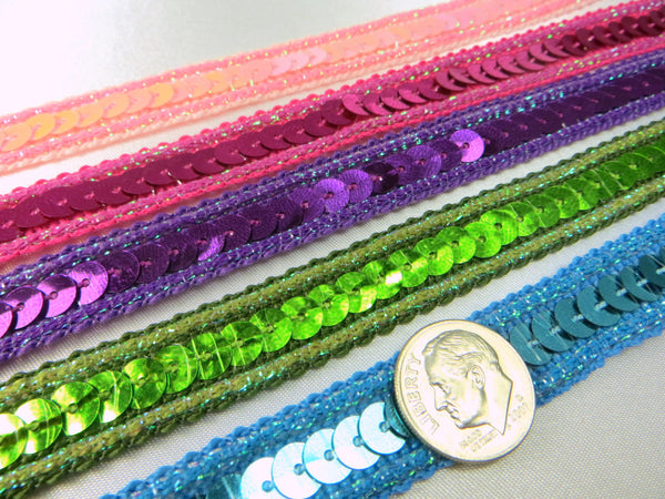 Sparkle Edge 1/2 Inch Sequined Trim in Pink, White AB, Black, Turquoise, Purple, Red, Green, Fuchsia-Trims-Odyssey Cache
