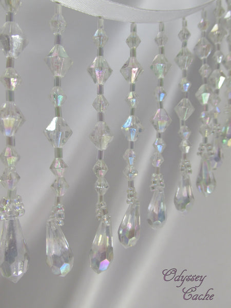 Precut Remnant Pieces Crystal AB 3 inch Rainbow Colored Medium Beaded Fringe Trim - Odyssey Cache
