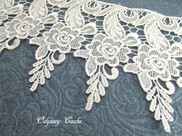 Ivory 6.25 Inch Rose Patterned Long Venise Lace-Trims-Default Title-Odyssey Cache