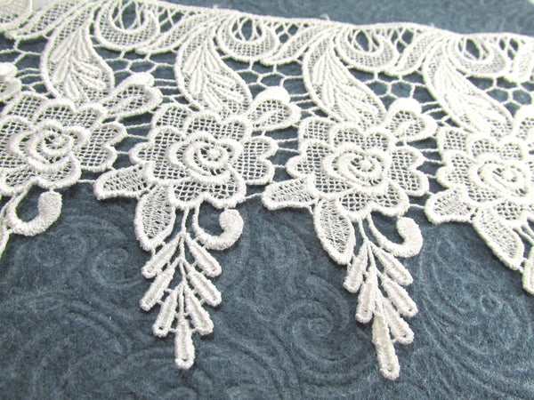 Ivory 6.25 Inch Rose Patterned Long Venise Lace-Trims-Odyssey Cache