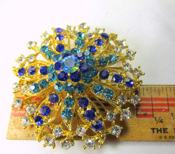 Turquoise and Blue Vintage Style Flower Gold Brooch - Odyssey Cache