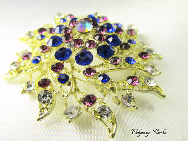 Amethyst Purple and Cobalt Blue Vintage Style Gold Brooch - Odyssey Cache
