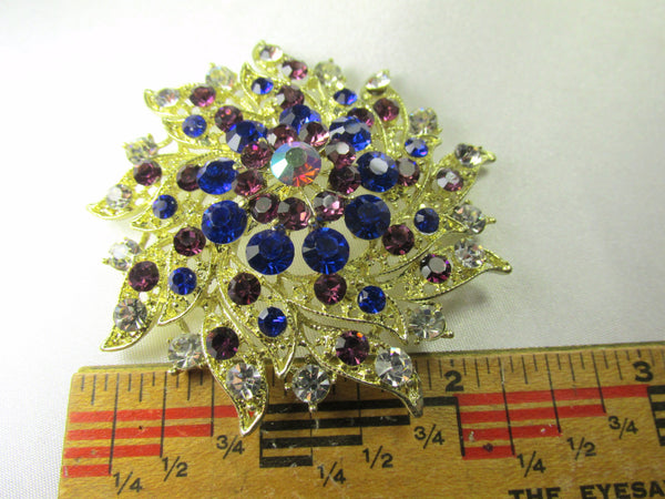 Amethyst Purple and Cobalt Blue Vintage Style Gold Brooch-Brooch-Odyssey Cache