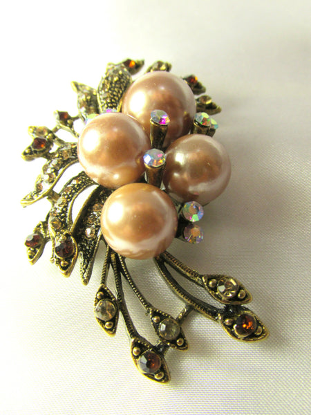 Vintage Style Antique Gold Champagne Pearl and Topaz Crystal Brooch-Brooch-Default Title-Odyssey Cache