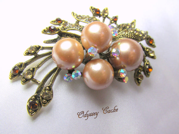 Vintage Style Antique Gold Champagne Pearl and Topaz Crystal Brooch-Brooch-Odyssey Cache