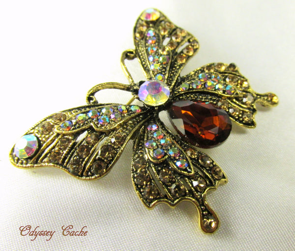 Butterfly Brooch in Topaz, Crystal AB and Antique Gold - Odyssey Cache