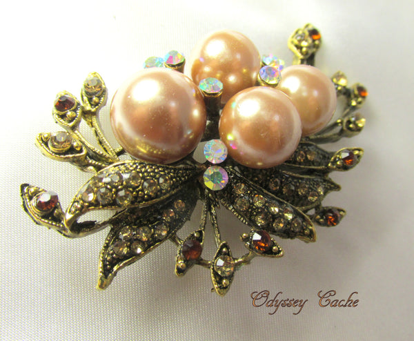 Vintage Style Antique Gold Champagne Pearl and Topaz Crystal Brooch - Odyssey Cache