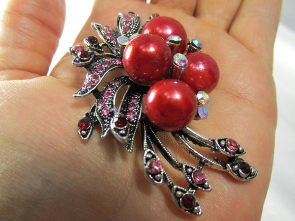 Cranberry Red Pearl and Pink & Garnet Crystal Brooch - Odyssey Cache