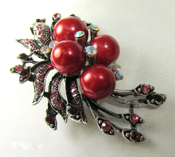 Cranberry Red Pearl and Pink & Garnet Crystal Brooch-Brooch-Odyssey Cache