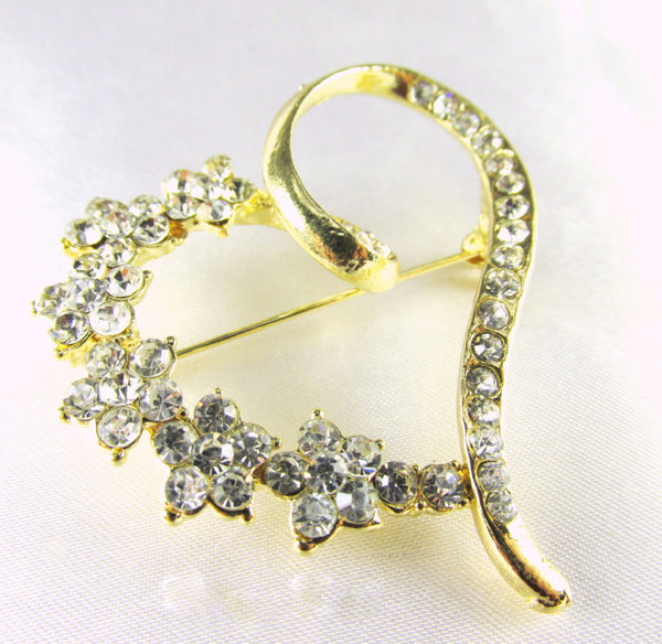 Gold Heart Brooch with Clear Crystals-Brooch-Odyssey Cache