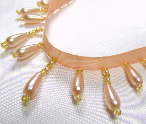 Peach Pearl Short Beaded Fringe Trim-Beaded Fringe-Yard-Odyssey Cache