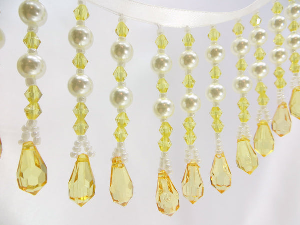 Yellow and White Pearl 3 Inch Medium Beaded Fringe - Odyssey Cache