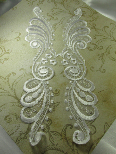 White Long 11.5 inch by 2.25 inch Bridal Lace Appliques (pair) - Odyssey Cache
