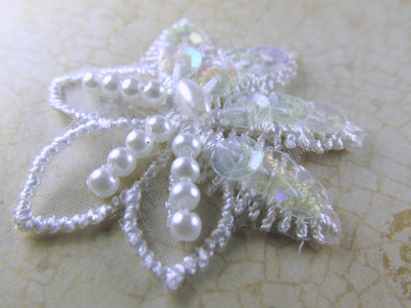 White Sequin and Pearl 1.5 inch Flower Bridal Appliques-Appliques-Odyssey Cache