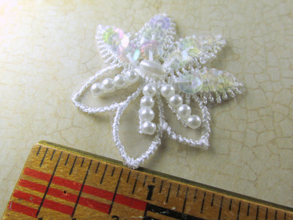 White Sequin and Pearl 1.5 inch Flower Bridal Appliques-Appliques-Default Title-Odyssey Cache
