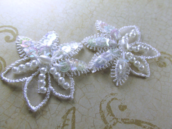 White Sequin and Pearl 1.5 inch Flower Bridal Appliques - Odyssey Cache