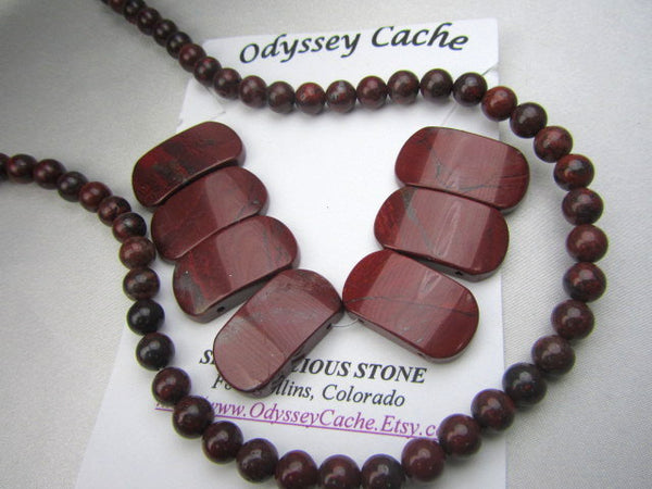 Dark Red Brecciated Red Jasper Semiprecious Stone 6mm Beads-Jewelry Beads-Odyssey Cache