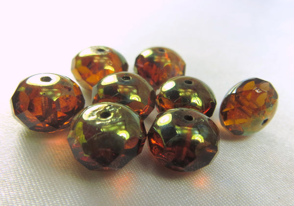 Amber Brown Green Brass Picasso Czech 10mm x 8mm Rondelles (8) - Odyssey Cache - 1