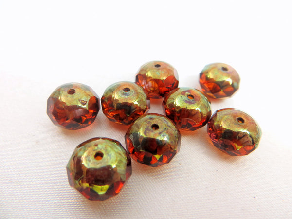 Amber Brown Green Brass Picasso Czech 10mm x 8mm Rondelles (8)-Jewelry Beads-Odyssey Cache
