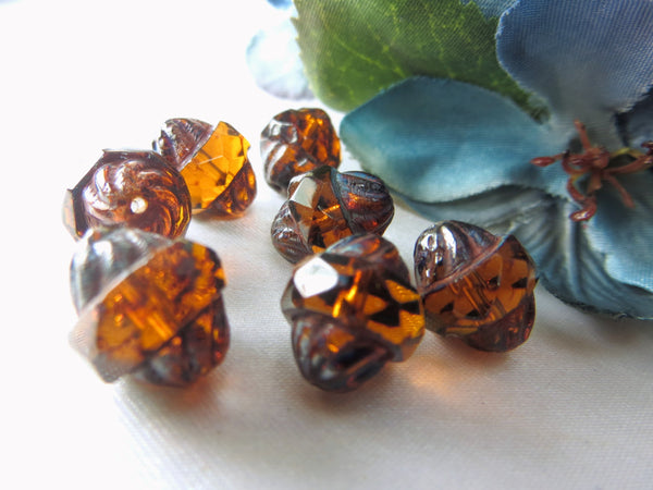 Brown Rust with Aqua Picasso Czech Turbines (7)-Jewelry Beads-Odyssey Cache