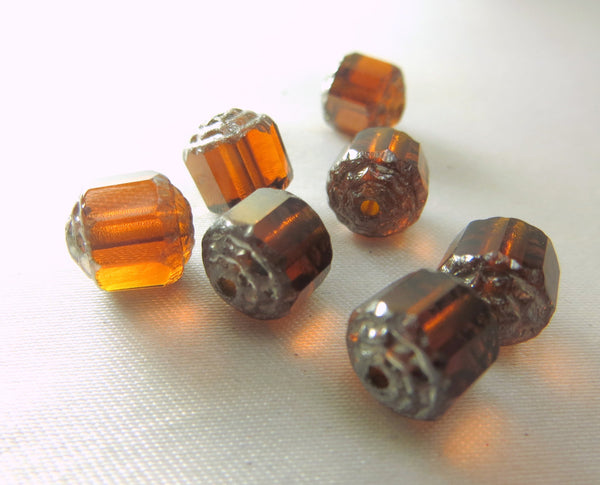 Brown and Silver Czech Cathedral Cut 9mm Barrel Beads (7) - Odyssey Cache