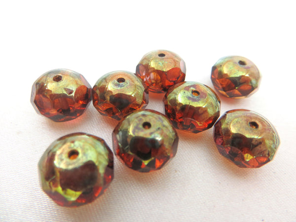 Amber Brown Green Brass Picasso Czech 10mm x 8mm Rondelles (8) - Odyssey Cache