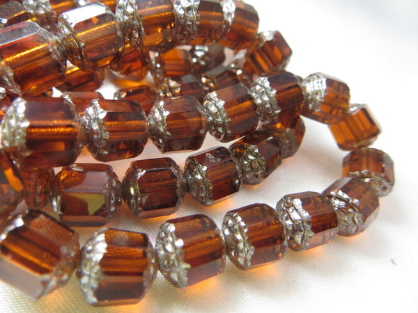 Brown and Silver Czech Cathedral Cut 9mm Barrel Beads (7)-Jewelry Beads-Odyssey Cache