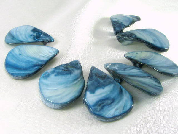 Denim Blue Mother of Pearl Shell 8 Piece Teardrop Pendant Fan Set-Jewelry Beads-Odyssey Cache