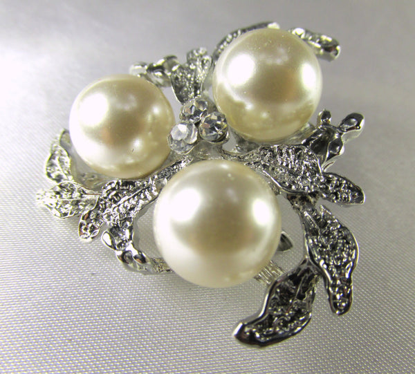 Silver Leaf and Cream Pearl Cluster 1.5 Inch Brooch - Odyssey Cache