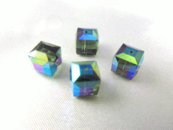 Green Morian AB Swarovski Crystal 8mm Cubes (2)-Jewelry Beads-Odyssey Cache