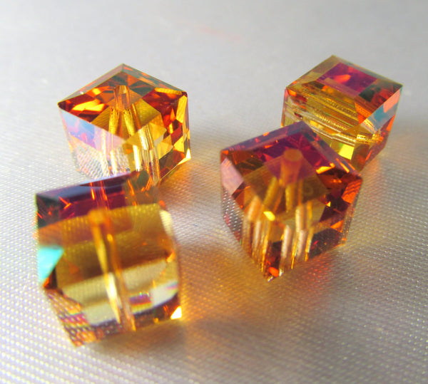 Astral Pink Swarovski Crystal 8mm Cubes (4) - Odyssey Cache