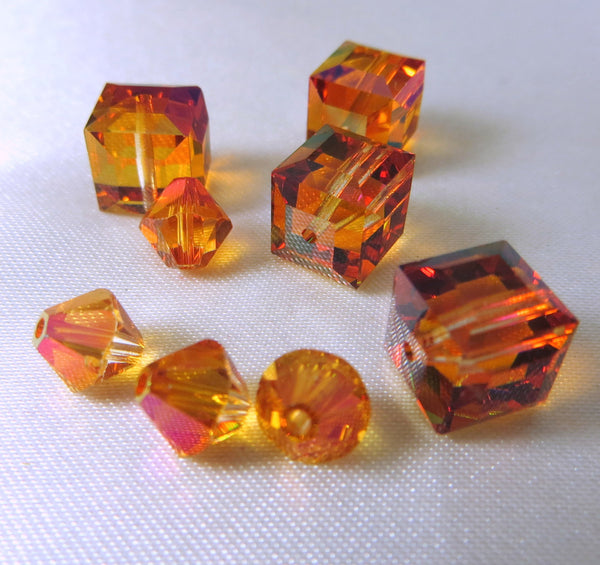 Astral Pink Swarovski Crystal 8mm Cubes (4)-Jewelry Beads-Odyssey Cache
