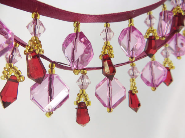 Pink and Burgundy Faceted Stair Step Short Beaded Fringe - Odyssey Cache