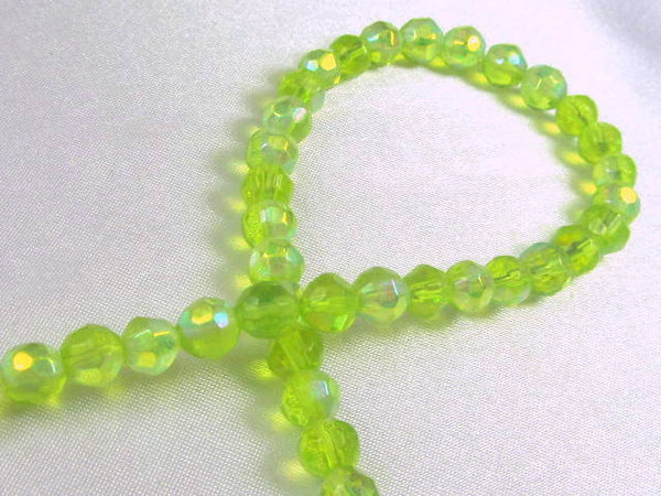 Lime Green AB 6mm Round Faceted Glass Beads (36)-Jewelry Beads-Odyssey Cache