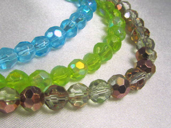 Lime Green AB 6mm Round Faceted Glass Beads (36) - Odyssey Cache