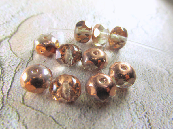 Rose Gold Copper Half Tone Czech 8mm x 6mm Rondelles (10) - Odyssey Cache