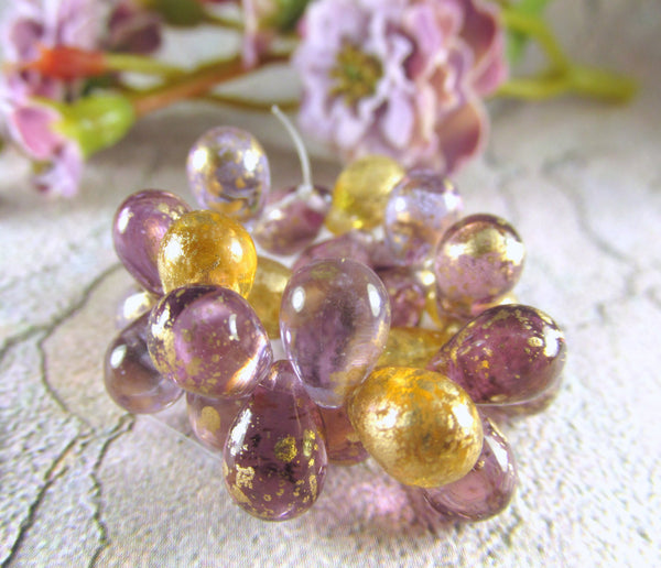 Venetian Mix Amethyst Plum Czech 9mm x 6mm Teardrops with Gold Picasso Beads (25)-Jewelry Beads-Odyssey Cache