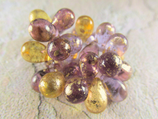 Amethyst Plum Czech 9mm x 6mm Teardrops with Gold Picasso Beads (25)-Jewelry Beads-Odyssey Cache