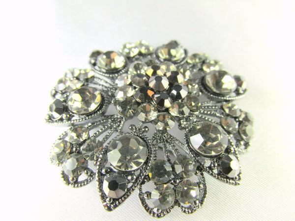 Large Vintage Styled Gray, Black Gunmetal Flower Brooch - Odyssey Cache