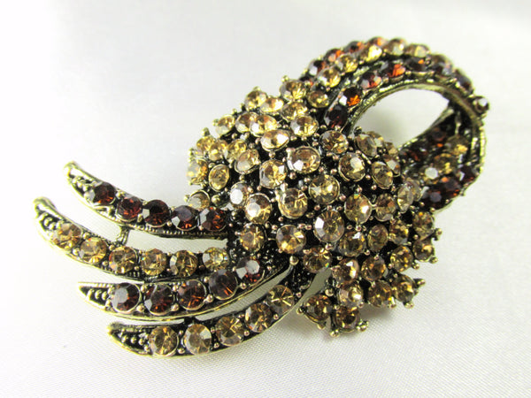 Brown and Gold Topaz Vintage Style Brooch-Brooch-Odyssey Cache