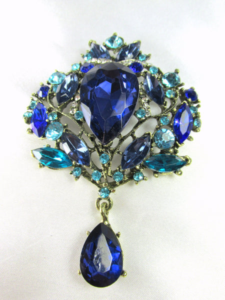 Blue and Turquoise Crystal Extra Large Brooch - Odyssey Cache