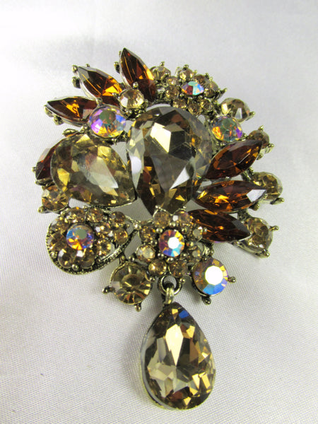 Topaz AB Brown and Gold XL Teardrop Brooch - Odyssey Cache
