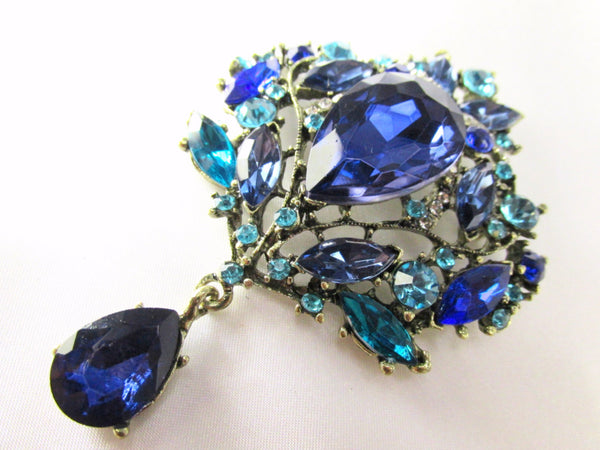 Blue and Turquoise Crystal Extra Large Brooch-Brooch-Odyssey Cache