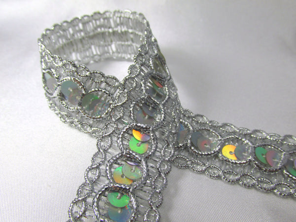 Holographic 7/8 inch wide Circle Style Sequined Trim-Trims-Silver-Odyssey Cache