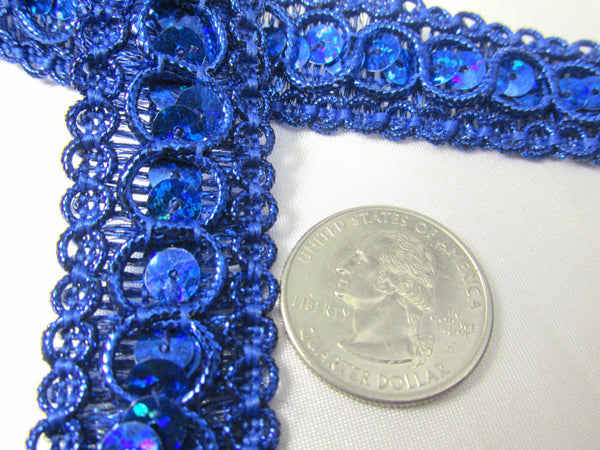 Holographic 7/8 inch wide Circle Style Sequined Trim-Trims-Cobalt Blue-Odyssey Cache
