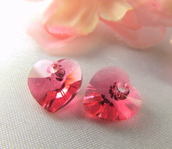 Indian Pink Coral Swarovski Crystal 10mm Hearts-Jewelry Beads-Odyssey Cache