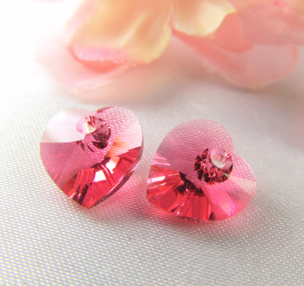 Indian Pink Coral Swarovski Crystal 10mm Hearts - Odyssey Cache - 4